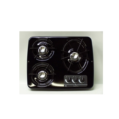 RV Cooktop - Atwood - 3 Burners - Propane - Drop-In Counter - Black