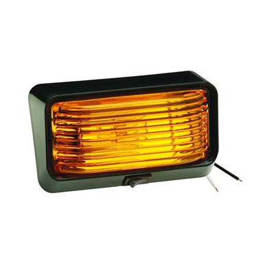 Porch Lights - Bargman 78 Series RV Porch Light Black Base & Amber Lens With Switch 12V