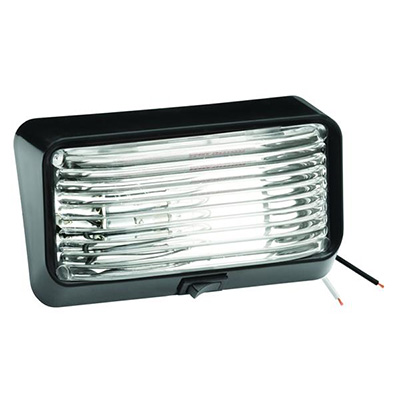 Porch Lights - Bargman 12V Porch Light With Black Base/Clear Lens And Switch