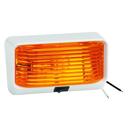 Porch Lights - Bargman RV Porch Light With White Base/Amber Lens And Switch - 12V