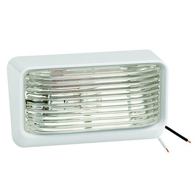 Porch Lights - Bargman RV Porch Light With White Base/Clear Lens No Switch - 12V