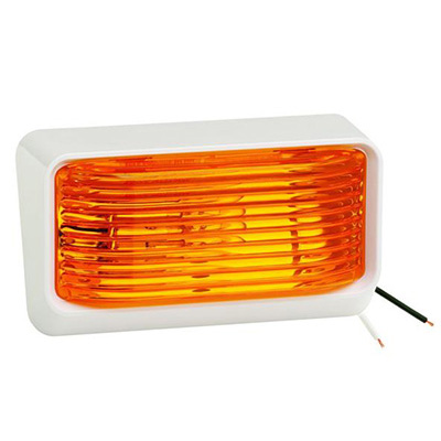 Porch Lights - Bargman RV Porch Light With White Base/Amber Lens No Switch - 12V