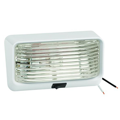 Porch Lights - Bargman 12V Porch Light With White Base/Clear Lens And Switch