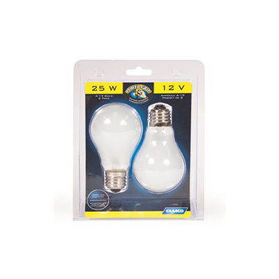Light Bulbs - Camco 12V Incandescent Screw In Lamp Bulbs - 25 Watts - 2 Per Pack