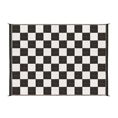 Camping Mats - Camco Checkered Camping Mat 6' x 9' Black & White