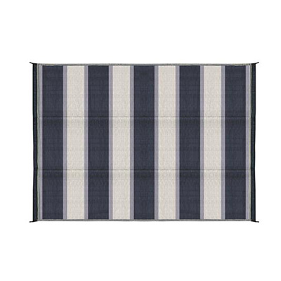 Camping Mats - Camco - Stripes - 6 x 9 Feet - Blue/White