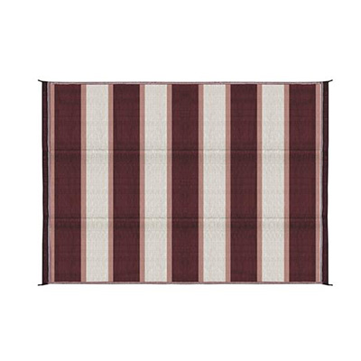 Camping Mats - Camco - Outdoor - Stripe - 6 x 9 Feet - Burgundy And White
