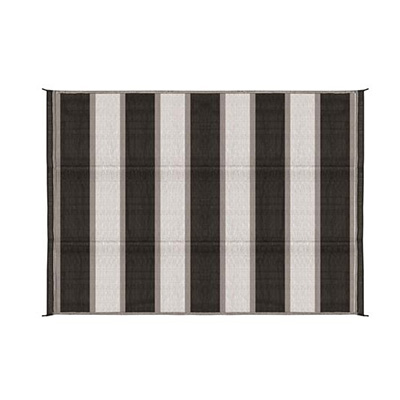 Camping Mats - Camco - Outdoor - Stripe - 6 x 9 Feet - Charcoal And White