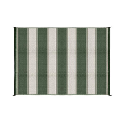 Camping Mats - Camco - Stripes - 6 x 9 Feet - Green/White