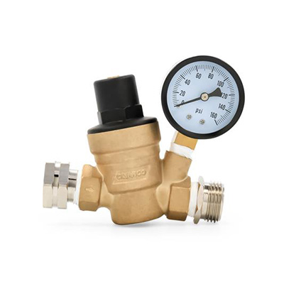 Water Pressure Regulator - Camco Adjustable Water Pressure Regulator With Gauge