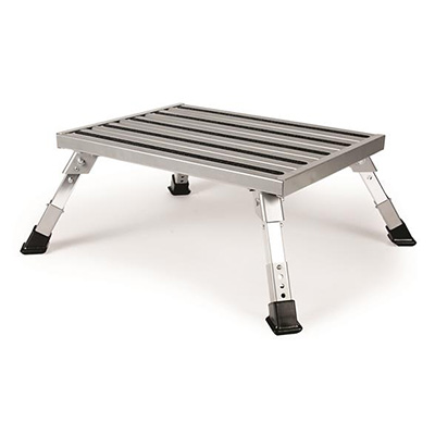 Step Stool - Camco Aluminum Platform Step Stool With Height Adjustment - 1000 Lbs Capacity