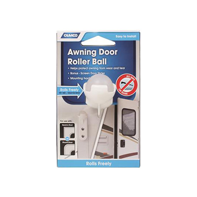 Awning Protectors - Camco RV Door Roller Ball With Screen Door Slider - White