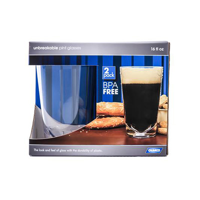 Glasses - Camco Polycarbonate Pint Glasses - 2 Per Pack