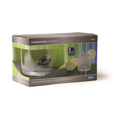 Glasses - Camco Polycarbonate Tumbler Glasses - 2 Per Pack
