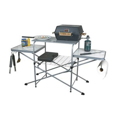 Barbecue Grill Table - Camco - Deluxe - Steel And Aluminum - Carry Case
