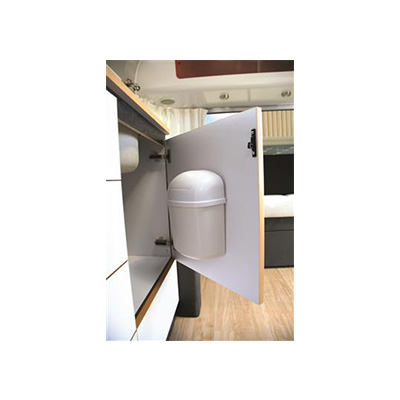 Trash Cans - Camco Surface Mount Trash Can With Swing Top Lid - White Colour