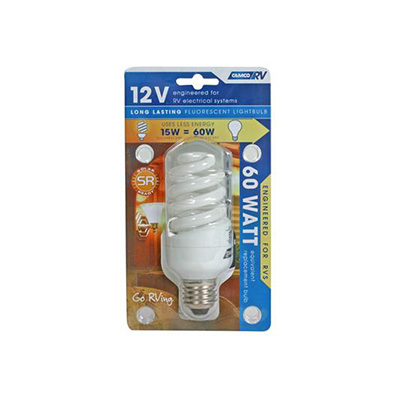 Light Bulbs - Camco Fluorescent 15-Watt Screw In Light Bulbs 12V
