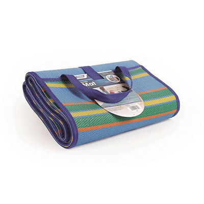 Handy Mat - Camco - Stripes - 5 x 6.5 Feet - Handles - Multi-Colour