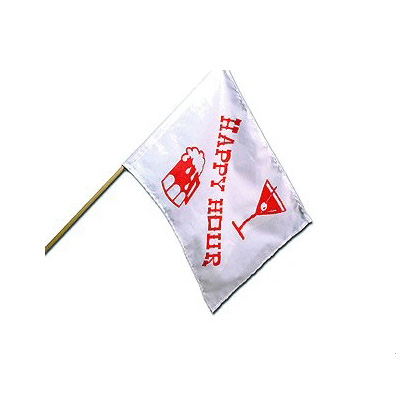Flags - Camco Happy Hour White And Red Fabric Flag - 12