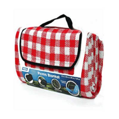 Picnic Blanket - Camco - Waterproof - Carry Handle - Red And White Checkered