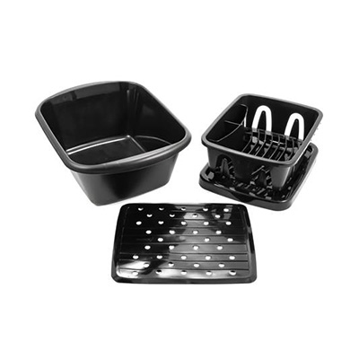 Dish Pan - Camco Dish Kit With Pan, Drainer, Tray And Mat  - Black
