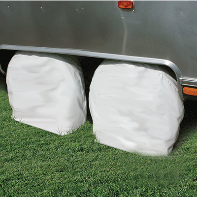 Wheel Protectors - Camco - 24 To 26 Inch Tires - Arctic White - 2 Pack