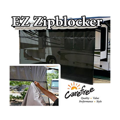 Awning Sun Block Panel - EZ ZipBlocker Awning Sun Block Panel 10'W x 9'H - Black