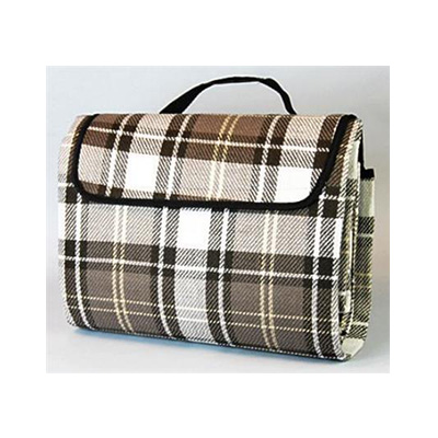 Picnic Blanket - Carefree - Waterproof PVC Backing - Brown Plaid