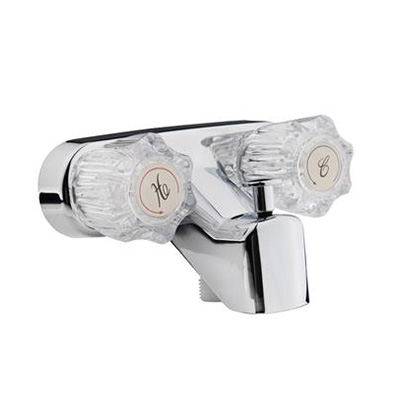 Tub Faucets - Dura Faucet With Dual Knobs & Diverter - Chrome Base With Clear Acrylic Knobs
