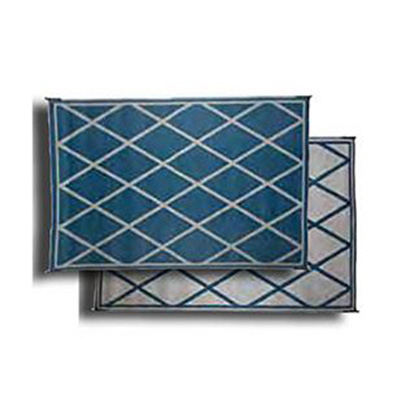 Camping Mats - Faulkner - Diamond - 8 x 20 Feet - Blue And Ivory