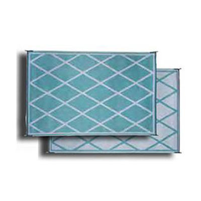 Mats - Faulkner Diamond 8' x 20' Outdoor Mat - Turquoise And White