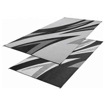 Camping Mats - Faulkner - Waves - 8 x 16 Feet - Black/Grey