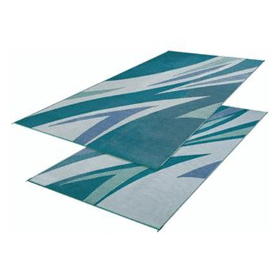 Mats - Faulkner Waves 8' x 16' Outdoor Mat - Green And Blue