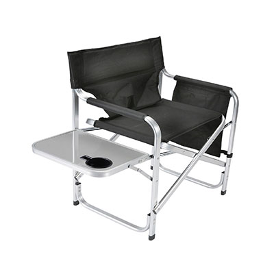 Camping Chair - Faulkner - Director Style - Tray And Side Pouch - Black