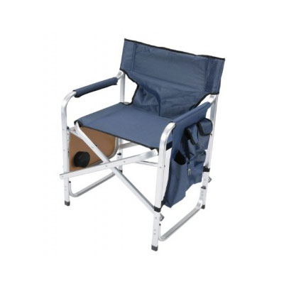 Chairs - Faulkner Director-Style Folding Chair With Tray And Side Pouch - Blue