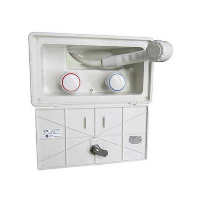 RV Outside Shower - ITC Inc. - Exterior Spray Station - Locking Door - White