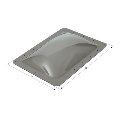 "RV Skylight - Icon Exterior Skylight Dome 26"" x 18"" With Flange - Smoke"