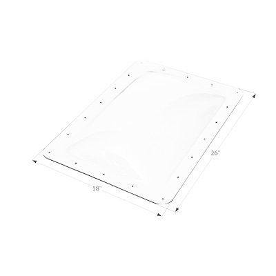 "RV Skylight - Icon Exterior Skylight Dome 26"" x 18"" With Flange - White"