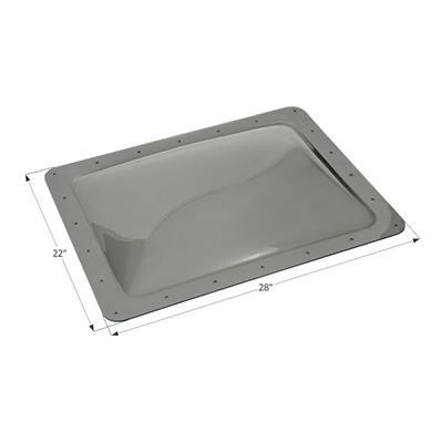 "RV Skylight - Icon Exterior Skylight Dome 28"" x 22"" With Flange - Smoke"