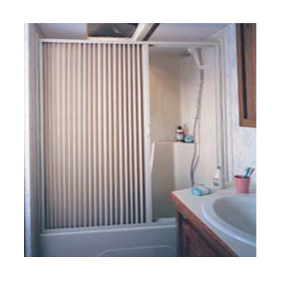 Shower Doors - Irvine Pleated PVC Shower Door With Aluminum Track 60