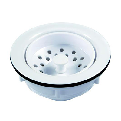 "Sink Strainer - JR Products 3-1/2"" To 4"" Drain Hole Plastic Strainer - Polar White"