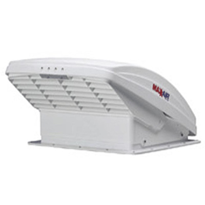 Roof Vent - MaxxFan Deluxe RV Roof Vent With Intake, Exhaust, Remote Control - White Lid