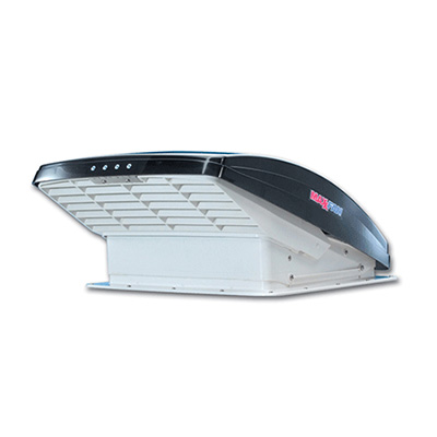 Roof Vent - MaxxFan Deluxe 6200K Power Roof Vent With Intake, Exhaust, Thermostat - Smoke