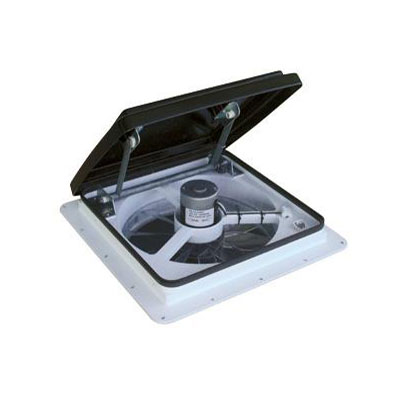 Roof Vent - MaxxFan Plus 4500K Roof Vent With Intake, Exhaust, Remote Control - Smoke