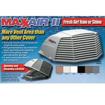 Roof Vent Cover - MaxxAir II Large Exterior RV Roof Vent Cover - Black