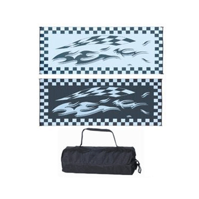 Camping Mats - Ming's Mark - Checkered Flag - 8 x 16 Feet - Black And White