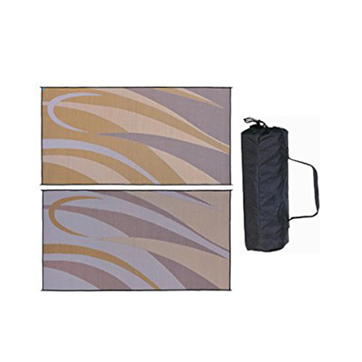 Camping Mats - Ming's Mark - Graphic - 8 x 16 Feet - Brown/Gold
