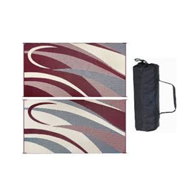 Camping Mats - Ming's Mark - Graphic - 8 x 16 Feet - Burgundy And Black