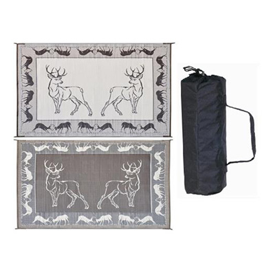 Mats - Ming's Mark Deer 8' x 18' Breathable Mat - Black/Brown/Beige