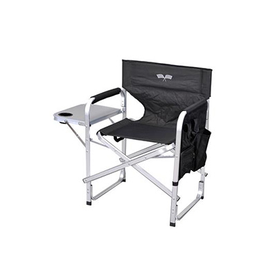 Camping Chairs - Ming's Mark Director-Style Folding Chair - Black With White Flag